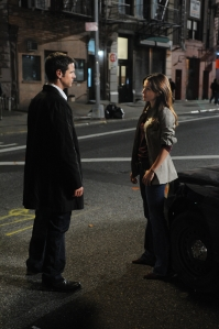 "Detective Don Flack (Eddie Cahill) and Detective Jessica Angell (Vaugier) in a scene from the CSI: NY episode ""Dead Inside."" Photo by David M. Russell and copyright of CBS/Paramount TV"