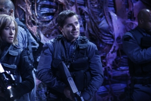 "Teyla (Rachel Luttrell) and Major Lorne go up against a crew of crazed and hungry Wraith in season five's ""Infection."" Photo copyright of The Sci Fi Channel"