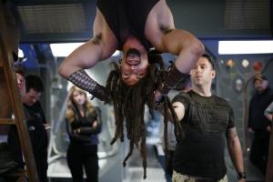 Jason Momoa hanging around on-set with Bamford. Photo courtesy of and copyright of MGM Studios