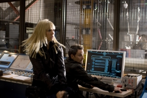 Ashley and Sanctuary's resident techno-whiz Henry (Ryan Robbins) infiltrate a facility run by a shadowy organization known as The Cabal. Photo by Jeff Weddell and courtesy of the Sci Fi Channel