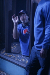 """Director Andy Mikita hard at work on the Stargate Atlantis season five episode """"First Contact."""" Photo by Eike Schroter and copyright of the Sci Fi Channel"""