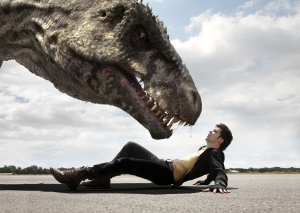 Poor Connor (Andrew-Lee Potts) gets up close and personal with a G-Rex. Photo copyright of Impossible Pictures