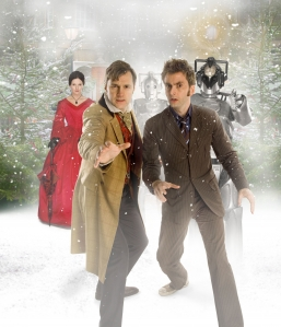 Miss Hartigan (Dervla Kirwan) and her Cybernetic allies cross paths with The Doctor (David Morrissey) AND The Doctor (David Tennant) in Doctor Who: The Next Doctor. Photo courtesy of and copyright of the BBC