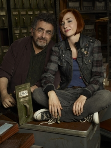 Saul Rubinek as Artie Nelsen and Allison Scagliotti as Claudia Donovan in Warehouse 13. Photo by Justin Stephens and copyright of The Sci Fi Channel