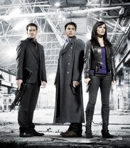 The Torchwood team - Ianto Jones (Gareth David-Lloyd), Captain Jack Harkness (John Barrowman) and Gwen Cooper (Eve Myles). Photo courtesy of and copyright of the BBC