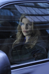 Tricia Helfer as Agent Bonnie Belski in Warehouse 13. Photo by Philippe Bosse and copyright of the Syfy Channel
