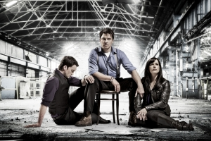 Eve Myles with her co-stars Gareth David-Lloyd (Ianto Jones) and John Barrowman in Torchwood: Children Of Earth. Photo courtesy of and copyright of the BBC