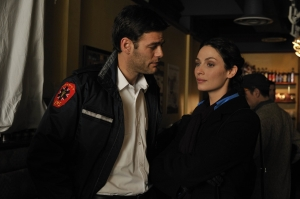 """Ivan Sergei guest-stars as Ross opposite series regular Joanne Kelly (as Myka Bering) in the Warehouse 13 episode """"Magnetism."""" Photo by Phillipe Bosse and copyright of the Syfy Channel"""