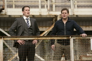 Ianto Jones (Gareth David-Lloyd) and Rhys assess the situation in Torchwood: Children Of Earth. Photo courtesy of and copyright of the BBC