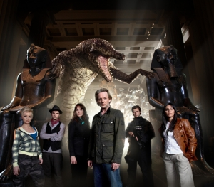 The cast of Primeval - Hannah Spearitt (Abby), Connor (Andrew-Lee Potts), Lucy Brown (Claudia), Douglas Henshall (Nick Cutter), Ben Mansfield (Captain Becker) and Laila Rouass (Sarah Page). Photo copyright of Impossible Pictures
