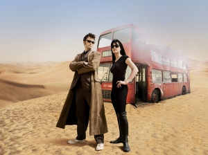 Things get a little hot under the collar for the Doctor (David Tennant) and Lady Christina (Michelle Ryan) in Doctor Who: Planet Of The Dead. Photo courtesy of and copyright of the BBC