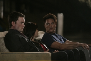 Ianto, Gwen and Jack settle into their new base of operations - the Hub 2. Photo courtesy of and copyright of the BBC