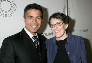 Esai Morales (Joseph Adama) with Caprica writer/executive producer Jane Espenson. Photo by Evans Ward and copyright of The Syfy Channel