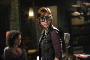 "Claudia tries to put her own ""steampunk spin"" on trying to solve a problem in the episode ""Elements."" Photo by Philippe Bosse and copyright of The Syfy Channel"