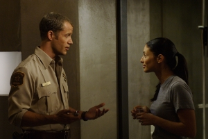 "Sheriff Jack Carter and Deputy Jo Lupo (Erica Cerra) in Ferguson's Eureka directorial debut ""Your Face or Mine."" Photo by Marcell Williams and copyright of The Syfy Channel"