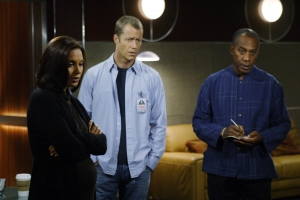 "Dr. Allison Blake (Salli Richardson-Whitfield), Sheriff Carter and Henry Deacon (Joe Morton) try to figure out what is causing the gravity wells in ""Welcome Back Carter."" Photo by Marcell Williams and copyright of The Syfy Channel"
