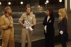 "Henry, Sheriff Carter, Allison and Tess try to sort out yet another scientific mishap in ""It's Not Easy Being Green."" Photo by Marcell Williams and copyright of The Syfy Channel"