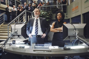 Mission Control Commander Mike Goss (Andrew Airlie) and scientist Eve Shaw (Karen LeBlanc) watch intently back on Earth as the Antares mission unfolds before their eyes. Photo copyright of ABC Television