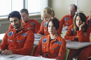 Evram Mintz (Eyal Podell) and Nadina Schilling (front) along with Zoe Barnes and Jen Crane (back) sit through yet another training course. Photo copyright of ABC Television