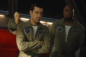 Donner, Ted Shaw (Malik Yoba) and Zoe Barnes (Laura Harris) onboard the Antares. Photo by Sergei Bachlakov and copyright of Fox Studios/ABC