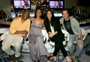 L-R - Erica Cerra with some of her Eureka castmates at Comic Con 2009 - Joe Morton, Salli Richardson-Whitfield (Dr. Allison Blake), Cerra and Neil Grayston (Douglas Fargo). Photo copyright of The Syfy Channel