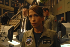 Jen Crane in ISO's (International Space Organization) Mission Control prior to leaving on her mission of exploration. Photo by Sergei Bachlakov and copyright of Fox Studios/ABC
