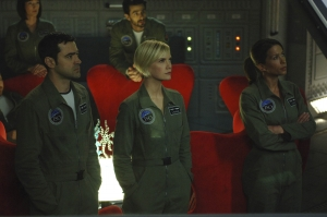L-R (front row) - On the Antares observation deck: Maddox Donner, Zoe Barnes and Jen Crane; (back row) Dr. Evram Mintz (Eyal Podell) and Nadia Schilling (Florentine Lahme). Photo by Sergei Bachlakov and copyright of Fox Studios/ABC