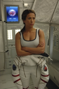 Jen suits up for a bit of space walk. Photo by Sergei Bachlakov and copyright of Fox Studios/ABC