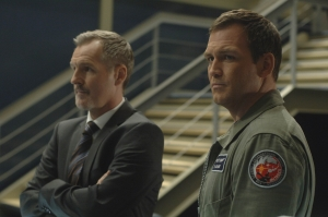 Mission Control Flight Director Mike Goss (Andrew Airlie) and Rollie. Photo by Sergei Bachlakov and copyright of Fox Studios/ABC