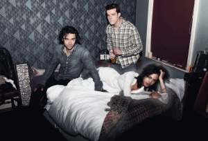 "L-R: Mitchell (Aiden Turner), a vampire, George (Russell Tovey), a werewolf, and Annie (Lenora Crichlow), all share a house along with the desire to ""fit in"" like everyone else in Being Human. Photo copyright of Touchpaper Television and the BBC"