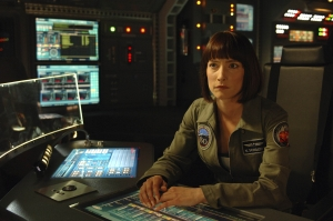 Nadia at the controls on the Antares flight deck. Photo by Sergei Bachlakov and copyright of Fox Studios/ABC