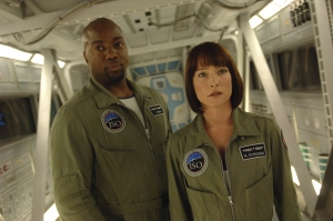 Antares Commander Ted Shaw (Malik Yoba) and Nadia. Photo by Sergei Bachlakov and copyright of Fox Studios/ABC