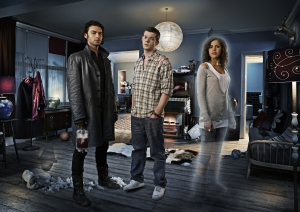 Our roomies, Mitchell (Aidan Turner), George (Russell Tovey) and Annie (Lenora Crichlow), face an uncertain future together in the season one finale of Being Human. Photo copyright of Touchpaper Television and the BBC