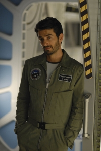 Evram Mintz standing in one of the Antares corridors. Photo by Sergei Bachlakov and copyright of Fox Studios and ABC