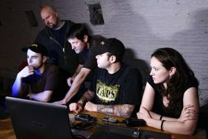 The Ghost Hunters team (L-R) - Dave Tango, Jason Hawes, Grant Wilson, Steve Gonsalves and Kris Williams. Photo copyright of The Syfy Channel