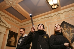 "(L-R): Robb Demarest, Barry FitzGerald and Shannon Sylvia investigate ""Evil Unearthed."" Photo by Gareth Phillips and copyright of The Syfy Channel"