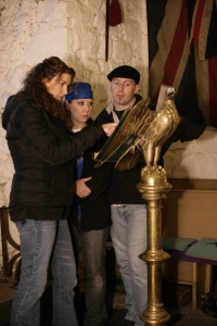 (L-R): Donna LaCroix, Shannon Sylvia and Barry FitzGerald at Chillingham Castle. Photo by Justin Canning and copyright of The Syfy Channel
