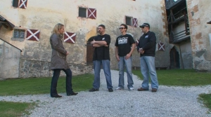 """(L-R from second in): Robb Demarest, Dustin Pari and Barry FitzGerald check out some """"Skeletons in the Closet."""" Photo copyright of The Syfy Channel"""