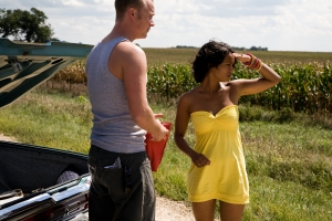 Burton (David Anders) and Vicki (Kandyse McClure) have no idea what is ahead of them in Children of the Corn. Photo by Ben Easter and copyright of The Syfy Channel