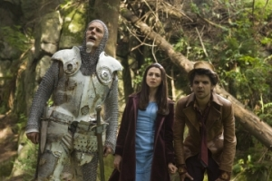 Danger and adventure await The White Knight (Matt Frewer), Alice (Caterina Scorsone) and The Hatter (Andrew Lee Potts) in Wonderland. Photo by James Dittiger and copyright of The Syfy Channel