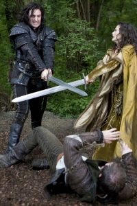 Sir Guy of Gisborne (Richard Armitage) crosses swords with Isabella (Lara Pulver). Photo copyright of Tiger Aspect