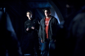 Sgt. Hunter Riley (Haig Sutherland) and Eli (David Blue) find themselves literally in the dark this week on Stargate Universe. Photo by Carole Segal and copyright of The Syfy Channel