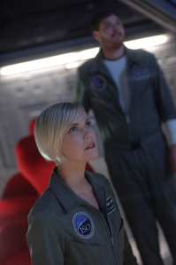 Zoe and Steve Wassenfelder (Dylan Taylor) watch intently as a situation unfolds onboard the Antares. Photo by Sergei Bachlakov and copyright of ABC/Fox TV Studios