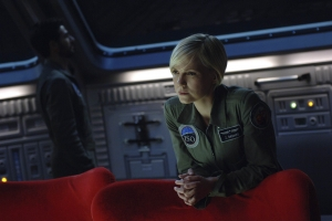 A contemplative moment for Zoe in the Antares' observation room. Photo by Sergei Bachlakov and copyright of ABC/Fox TV Studios