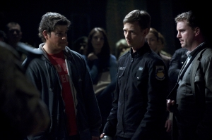"""Eli (David Blue), Sgt. Riley (Haig Sutherland) and Dale Volker (Patrick GIlmore) face an uncertain future in """"Light."""" Photo by Carole Segal and copyright of The Syfy Channel"""
