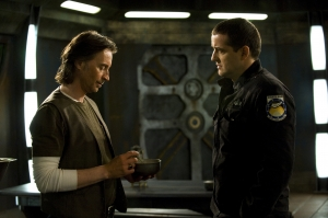 """Dr. Rush (Robert Carlyle) and Colonel Young (Louis Ferreira) consider their options in """"Light."""" Photo by Carole Segal and copyright of The Syfy Channel"""